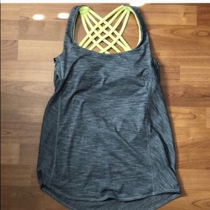Lululemon Wild Tank Gray Neon Built in Bra size 2